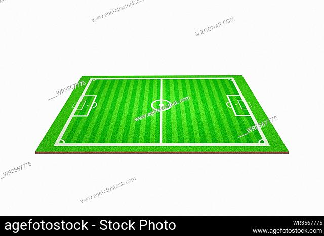 Soccerball court in 3d with cross section view of the grass and turf