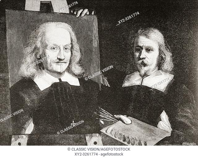 "il Guercino with his self portrait. Giovanni Francesco Barbieri, 1591 â. "" 1666, aka Guercino or il Guercino. Italian Baroque painter and draftsman"