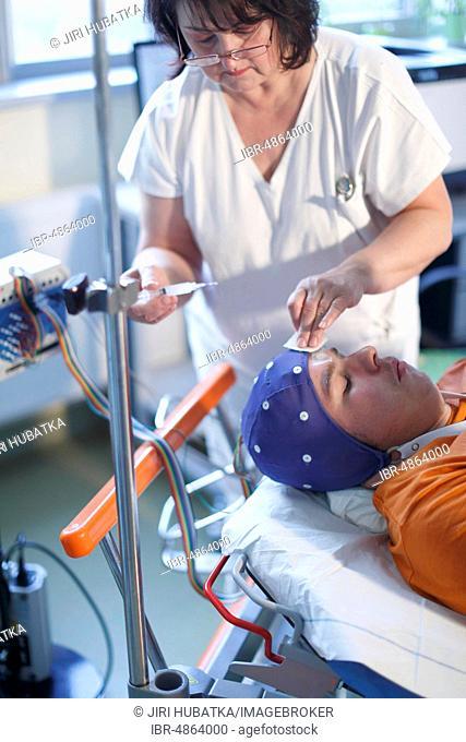 Electroencephalography, EEG, patient in neurological brain examination, neurology in hospital, Czech Republic