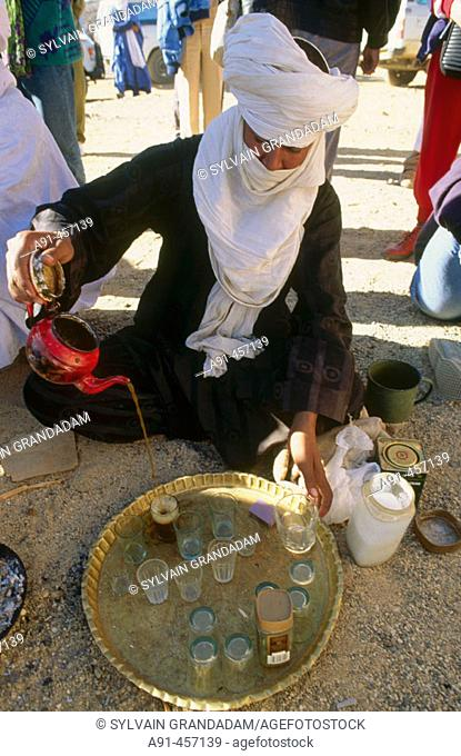 Tuareg green tea. Tamanrasset. Hoggar desert. Sahara. Algeria