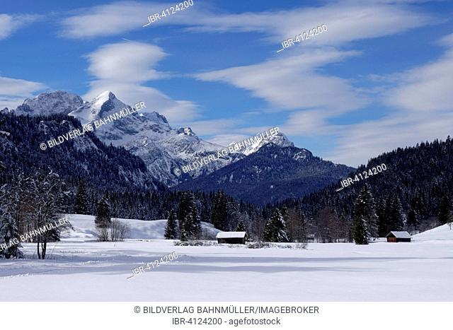 Winter landscape, near Klais, Werdenfelser Land region, Upper Bavaria, Bavaria, Germany