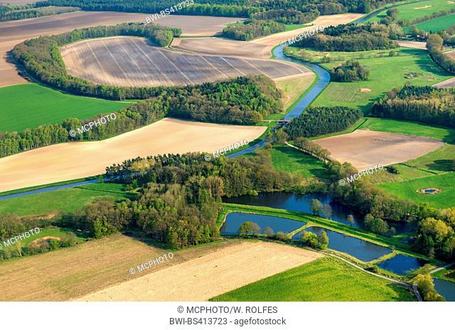 fishponds Laher Fischteiche, aerial view, Germany, Lower Saxony, Oldenburger Muensterland, Goldenstedt-Lahr