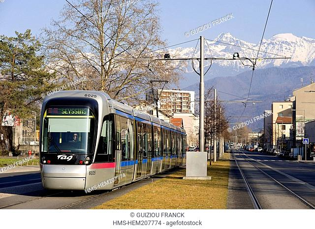 France, Isere, Grenoble, the trolley with the Belledonne massif in the background
