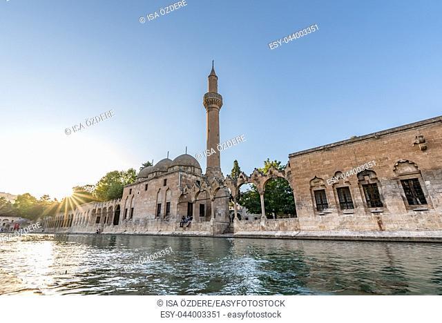 View of Halil-Ur Rahman Lake or named Balikli Gol(fish lake) in Sanliurfa, Turkey