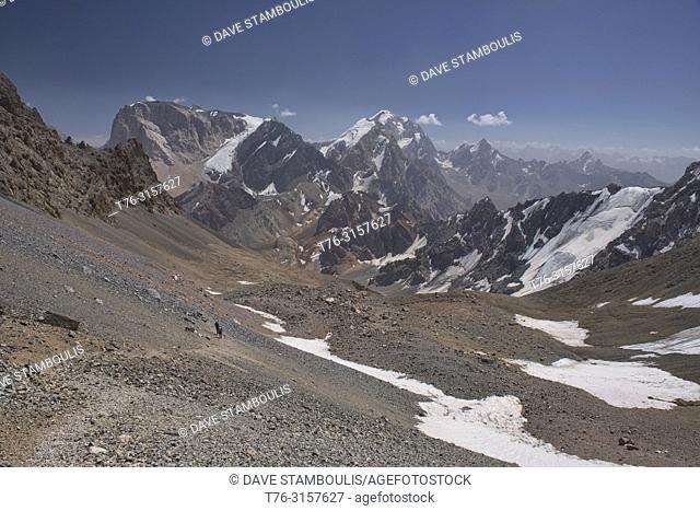 The stunning Fann Mountains seen from the Chimtarga Pass, Tajikistan