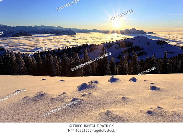 Evening, evening light, Alp, Alps, view, mountain, mountains, mountain, mountain panorama, Bernese Alps, mountains, back light, Glarus Alps, sky, light, Lucerne