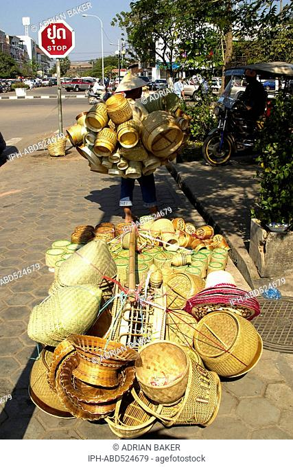 Laos Vientiane Traditional woven basketware, on the streets of Vientiane