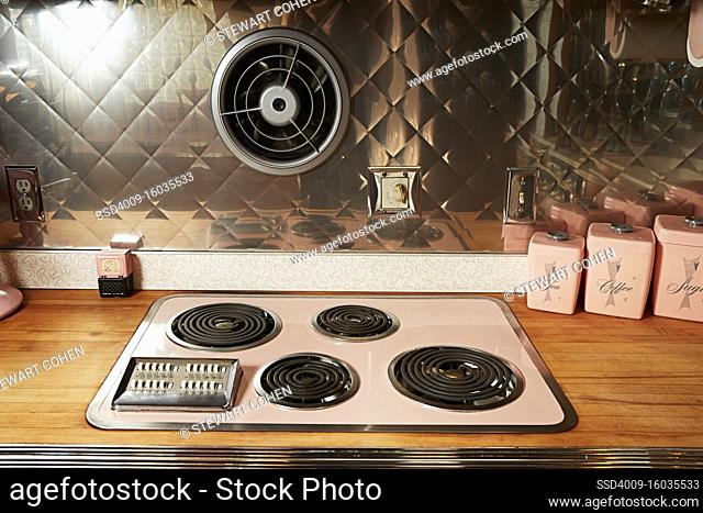 Vintage stove-top in a retro style kitchen