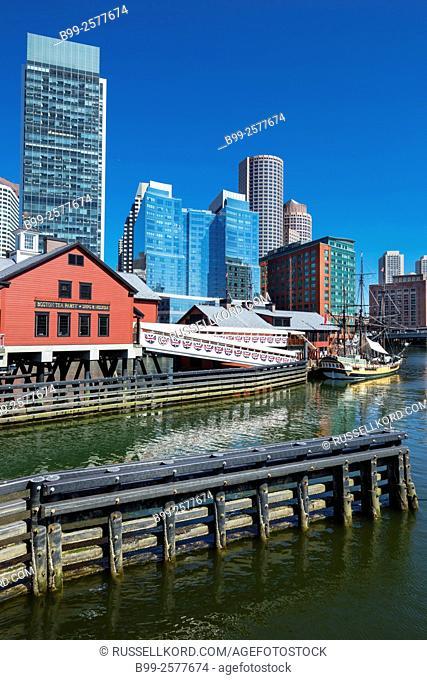 Tea Party Ship Museum Atlantic Wharf Waterfront Fort Point Channel Skyline Inner Harbor South Boston Massachusetts Usa