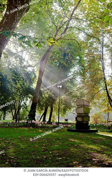 Ray of light in public park. Nature freshness in park and gardens, Caldas da Ranha, Portugal