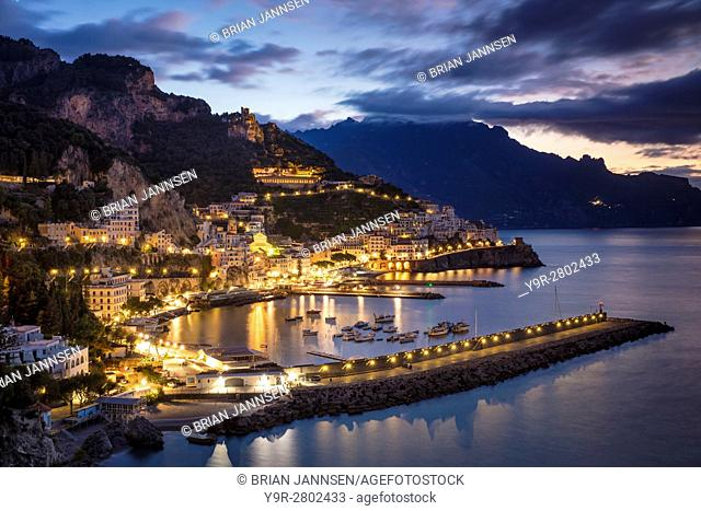 Early morning twilight view of Amalfi, Gulf of Salerno, Campania, Italy