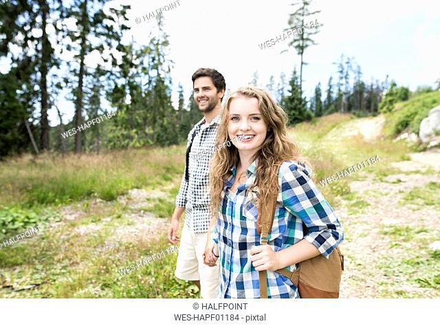 Young couple on a hiking tour