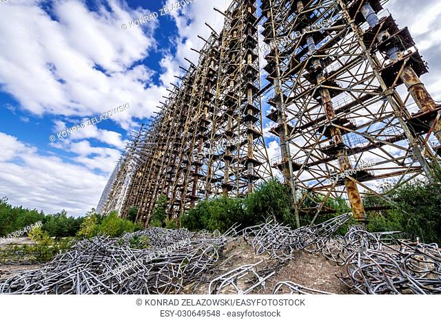 Duga radar system in Chernobyl-2 military base, Chernobyl Nuclear Power Plant Zone of Alienation around nuclear reactor disaster in Ukraine