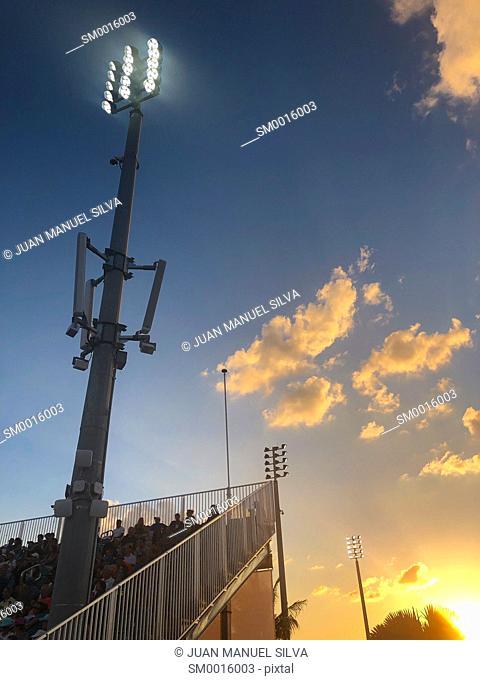 Stadium bleachers at sunset, Crandom Park, Key Biscayne, Florida, USA