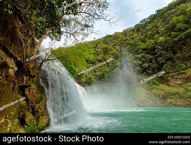 Beautiful waterfall in jungle, Mexico