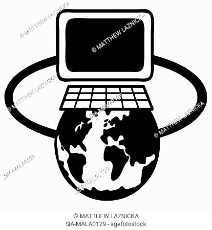 Computer monitor and keyboard connected to earth on white
