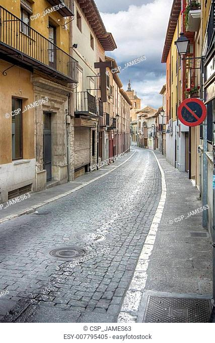 narrow and typical street of the town of Tordesillas, Spain