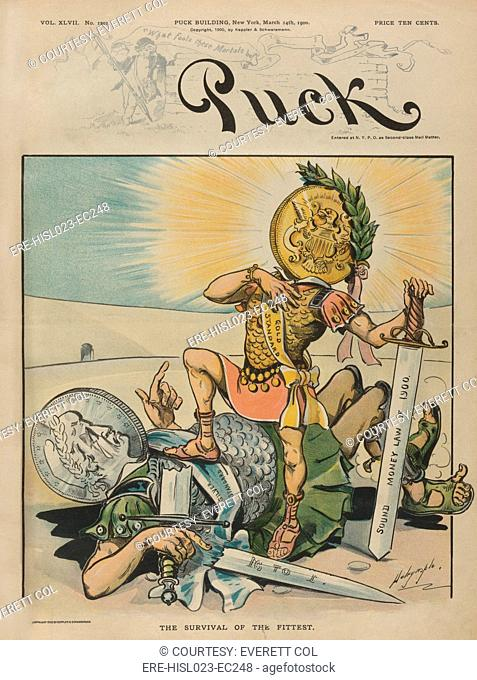 THE SURVIVAL OF THE FITTEST. Cartoon celebrating the victory of the gold standard against the populist inflation promoting silver standard