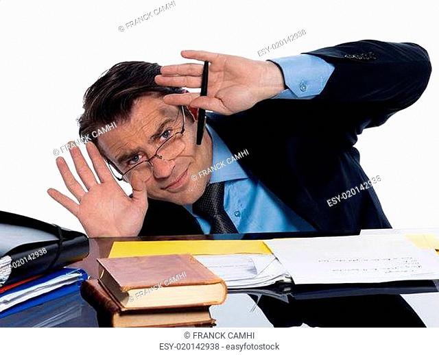 Man professor teaching afraid