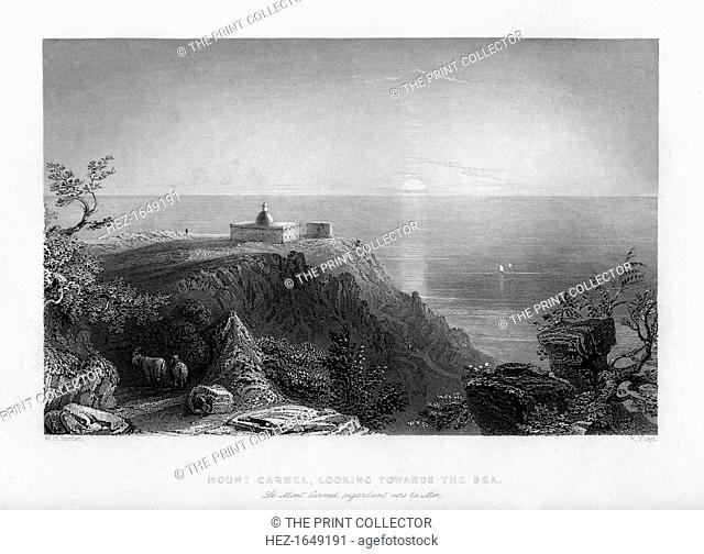 Looking out to sea from Mount Carmel, Israel, 1841. From Syria, the Holy land and Asia Minor, volume III, by John Carne, published by Fisher, Son & Co