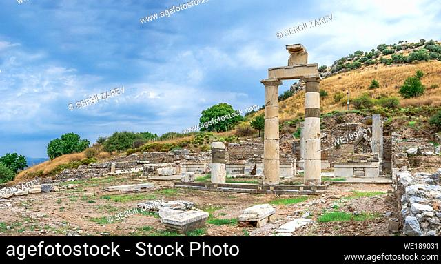 Prytaneion ruins near the State Agora in antique Ephesus city, Turkey, on a sunny summer day
