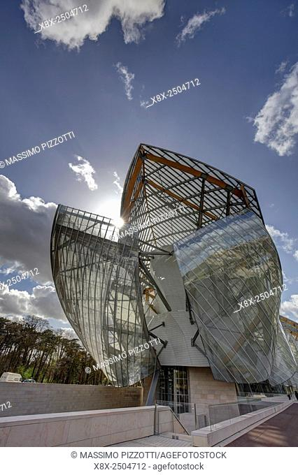 The modern architecture of Louis Vuitton Foundation by Frank Gehry, Paris, France