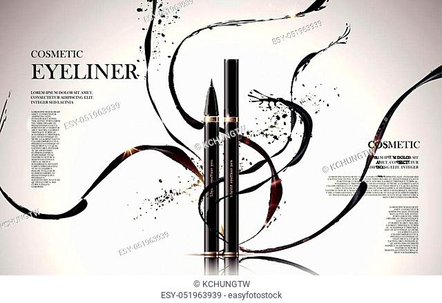 cosmetic eyeliner products, with ink elements isolated white background, 3d illustration