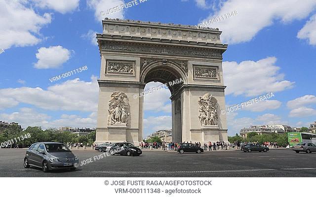 France , Paris City, Arc du Triumph, Champs Elysees Avenue