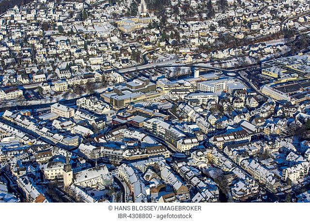 Cityscape with snow, Meschede, Sauerland, North Rhine-Westphalia, Germany
