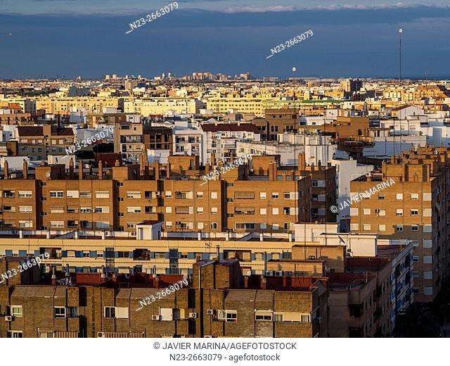 Last sunbeam on Valencia, Spain