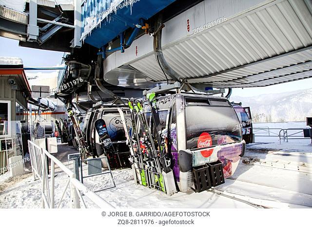 Cableway gondola ski lifts in Whistler, Canada