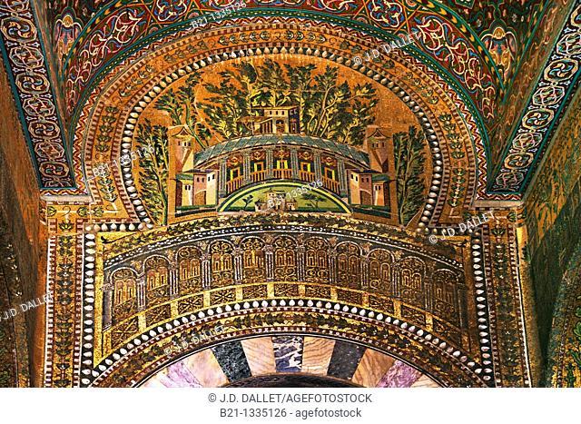 Syria, Damascus, Mosaic detail at the Umayyad Mosque, also known as the Grand Mosque of Damascus Arabic:    , transl  Gam' Bani 'Umayyah al-Kabir