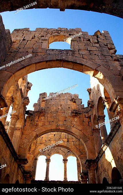 Inside church in monastery Alahan, Turkey