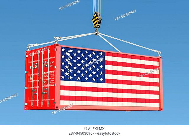 Cargo container with American flag hanging on the crane hook against blue sky, 3d rendering