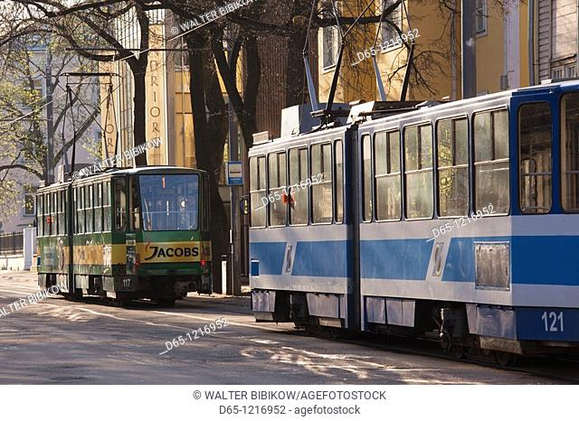 Estonia, Tallinn, Kadriorg area, tram on Weizenbergi Street, morning