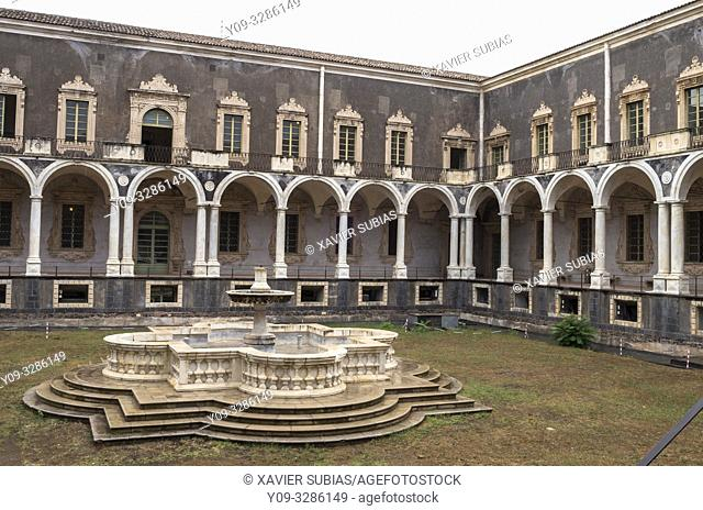 Cloister of the Monastery Benedictine, Catania, Sicily, Italy