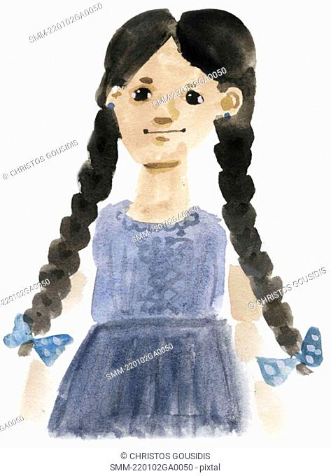 Little girl with long braids in dress