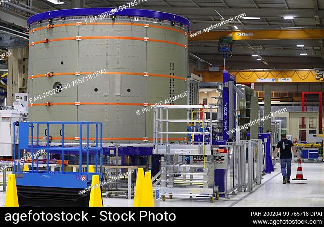 03 February 2020, Bavaria, Augsburg: A part of an Ariane 6 rocket is located in a production hall of the space company MT Aerospace