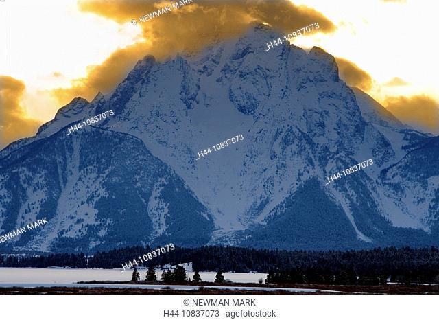 USA, America, United States, North America, Mount Moran, Grand Teton, national park, Wyoming, mountain, mountains, twi
