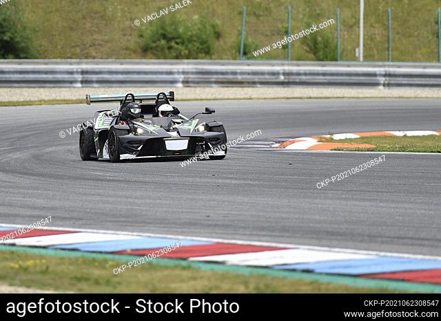 Visual challenged racer and automotive enthusiast Petr Haluska, white helmet, and his navigator created special record with KTM X-BOW ultra-light sports car on...