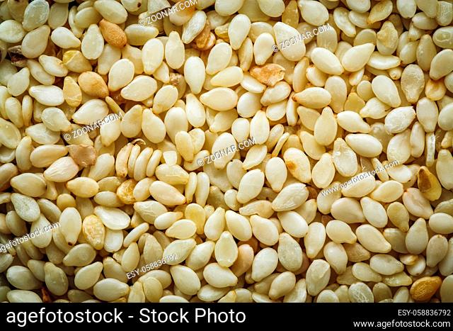 White sesame seeds macro background texture. Top view