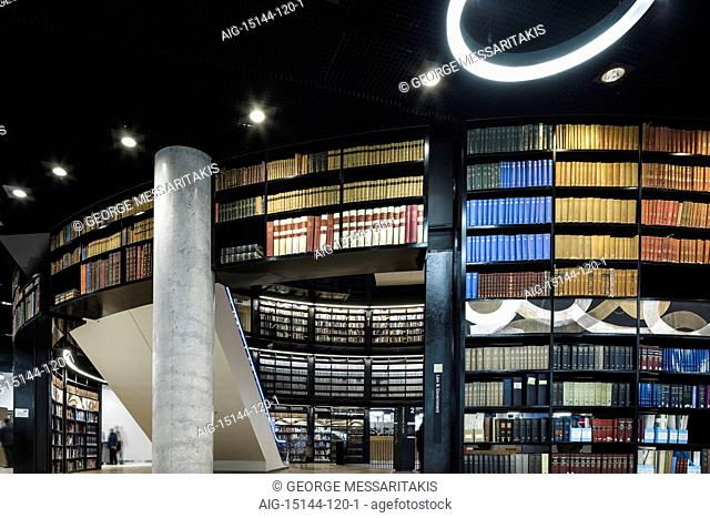 Birmingham Library. Interior view of public library. Curved walls with lined with bookshelves. Contemporary architecture and interior design