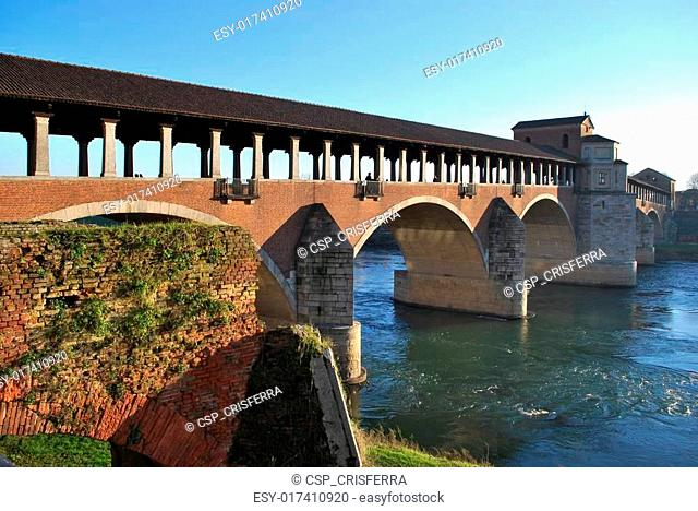 Covered bridge on Ticino river