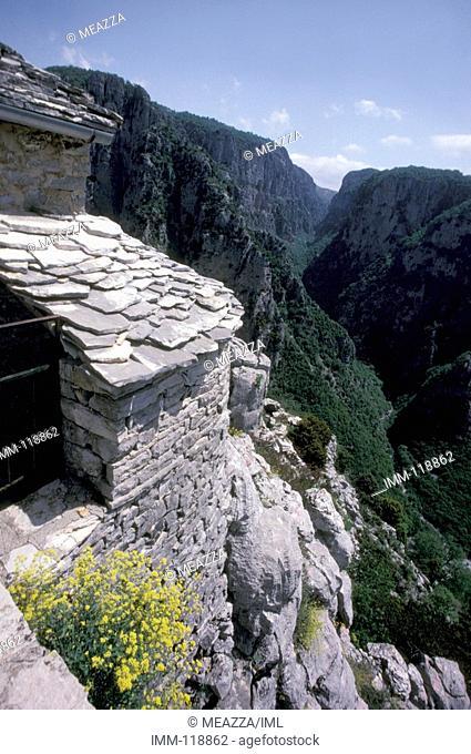 Epiros, Zagorohoria, Monodendri, Agia Paraskevi mountain, view Vikos Groge