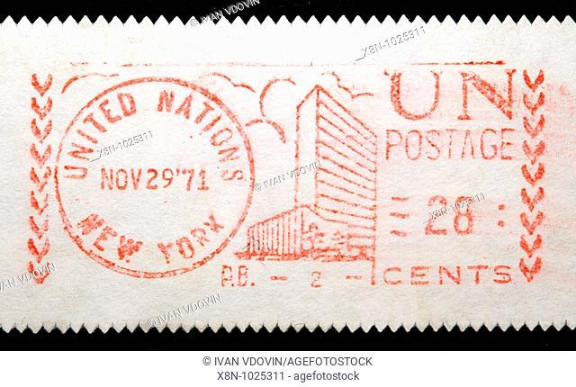 Postage frank stamp, envelope, UN, united nations, 1971, 1970s