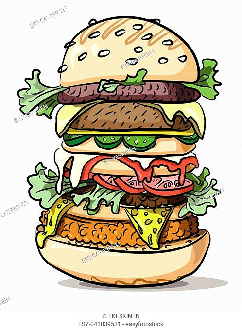 Cartoon image of tasty burger. An artistic freehand picture