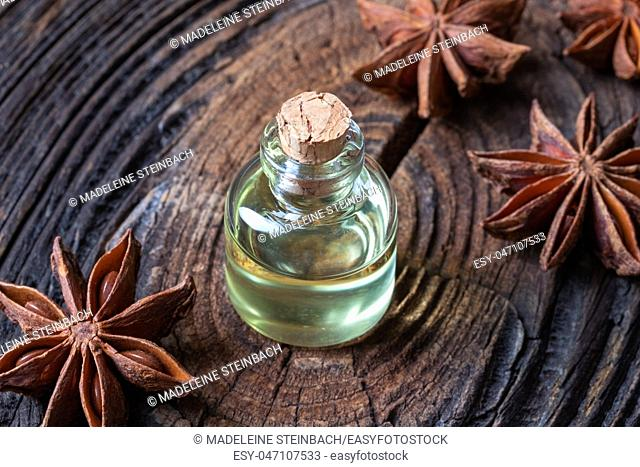 A bottle of star anise essential oil