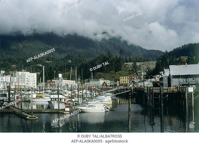 Photograph of a small harbor in a village in Alaska