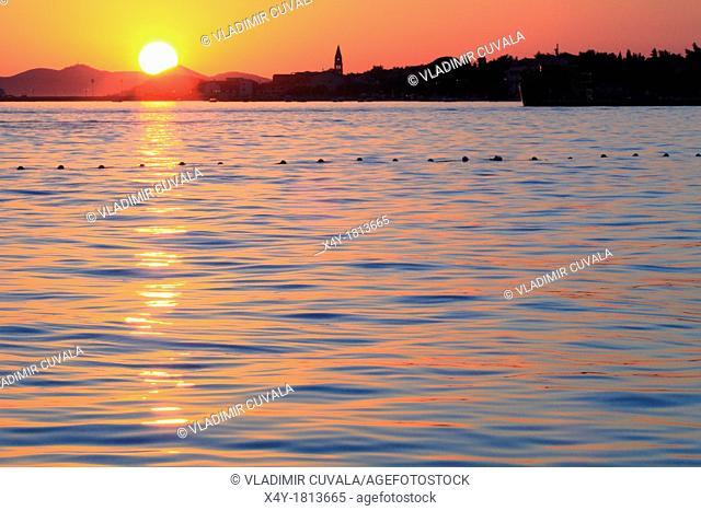 Sunset on Dalmatian coast, village Turanj, Croatia
