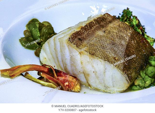 Grilled cod and vegetables